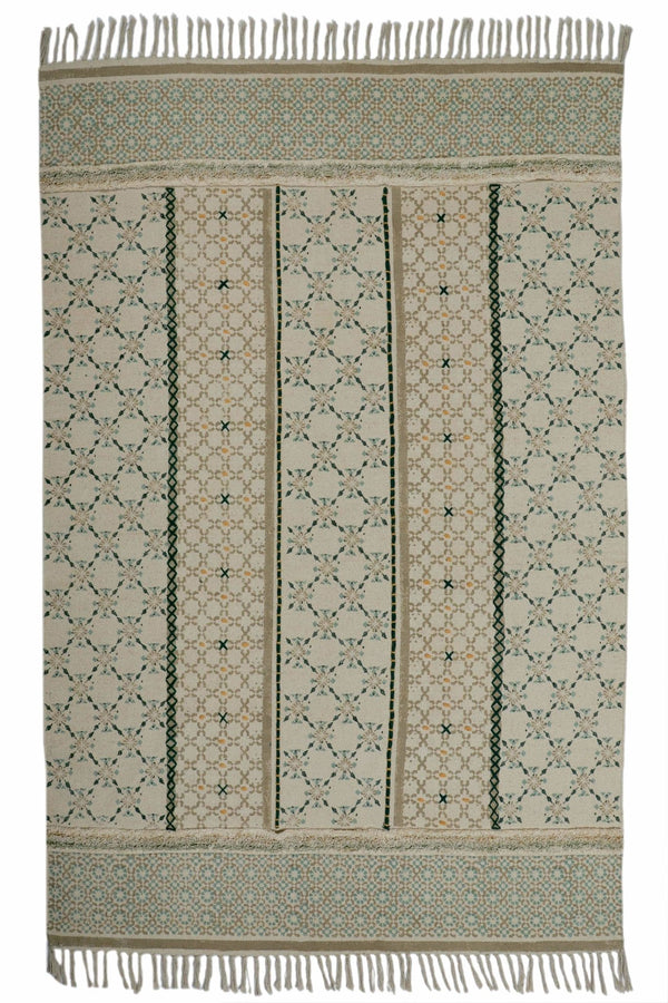 DEORI-BLOCK PRINTED RUG - GREEN - ART AVENUE