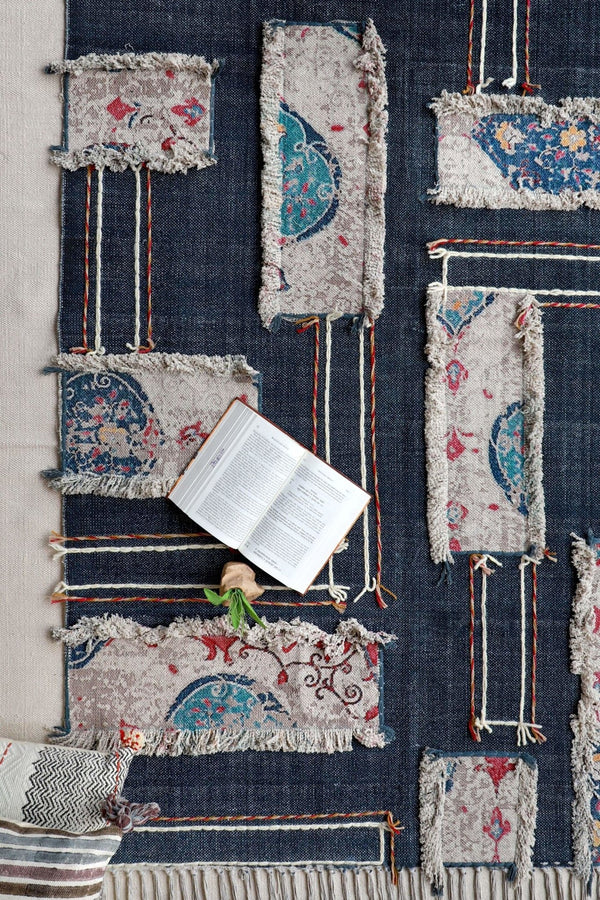 DEVSARA- HAND EMBROIDERED WITH PATCHWORK RUG - DARK BLUE - ART AVENUE