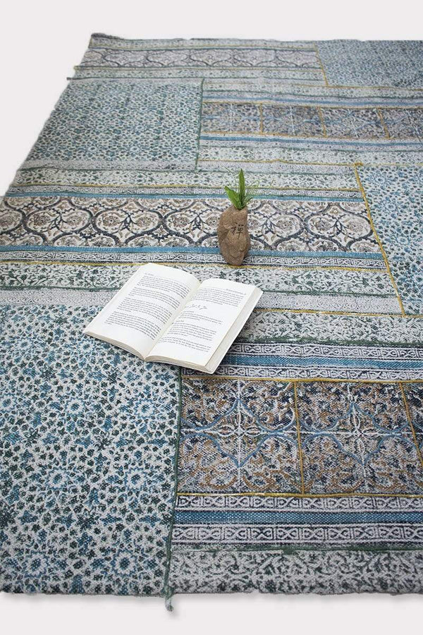 DIVINE -BLOCK PRINTED RUG - BLUE - ART AVENUE