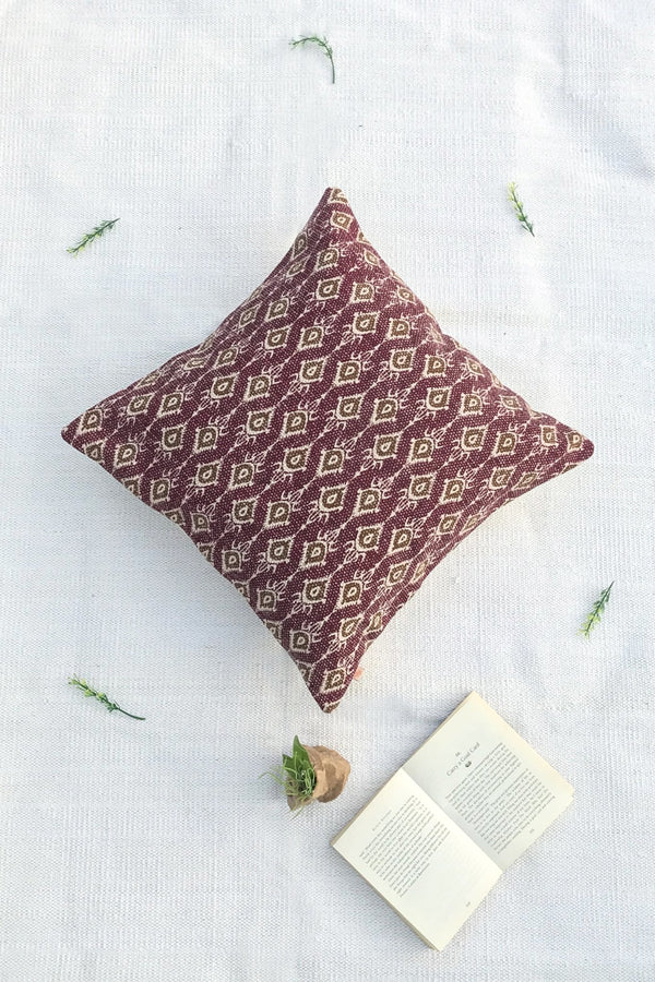 DONALD - SQUARE CUSHION COVER - MAROON - ART AVENUE