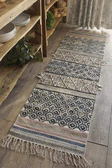 DOWNTOWN - BLOCK PRINTED FLOOR RUNNER - OFF WHITE & BLACK - ART AVENUE
