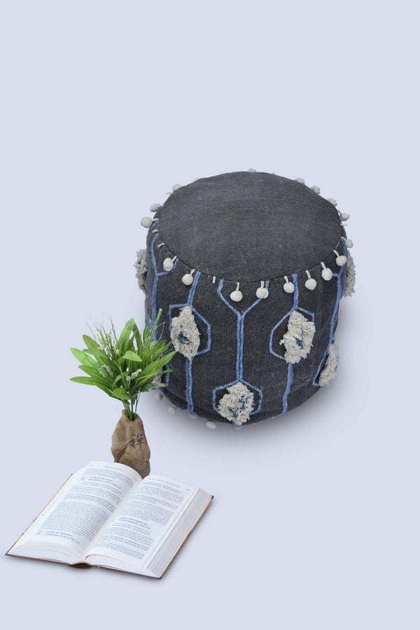 DRUMMER - CYLINDRICAL POUF-GREY - ART AVENUE