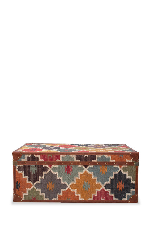 ELITE KILIM TRUNK/TABLE WITH LEATHER - ART AVENUE