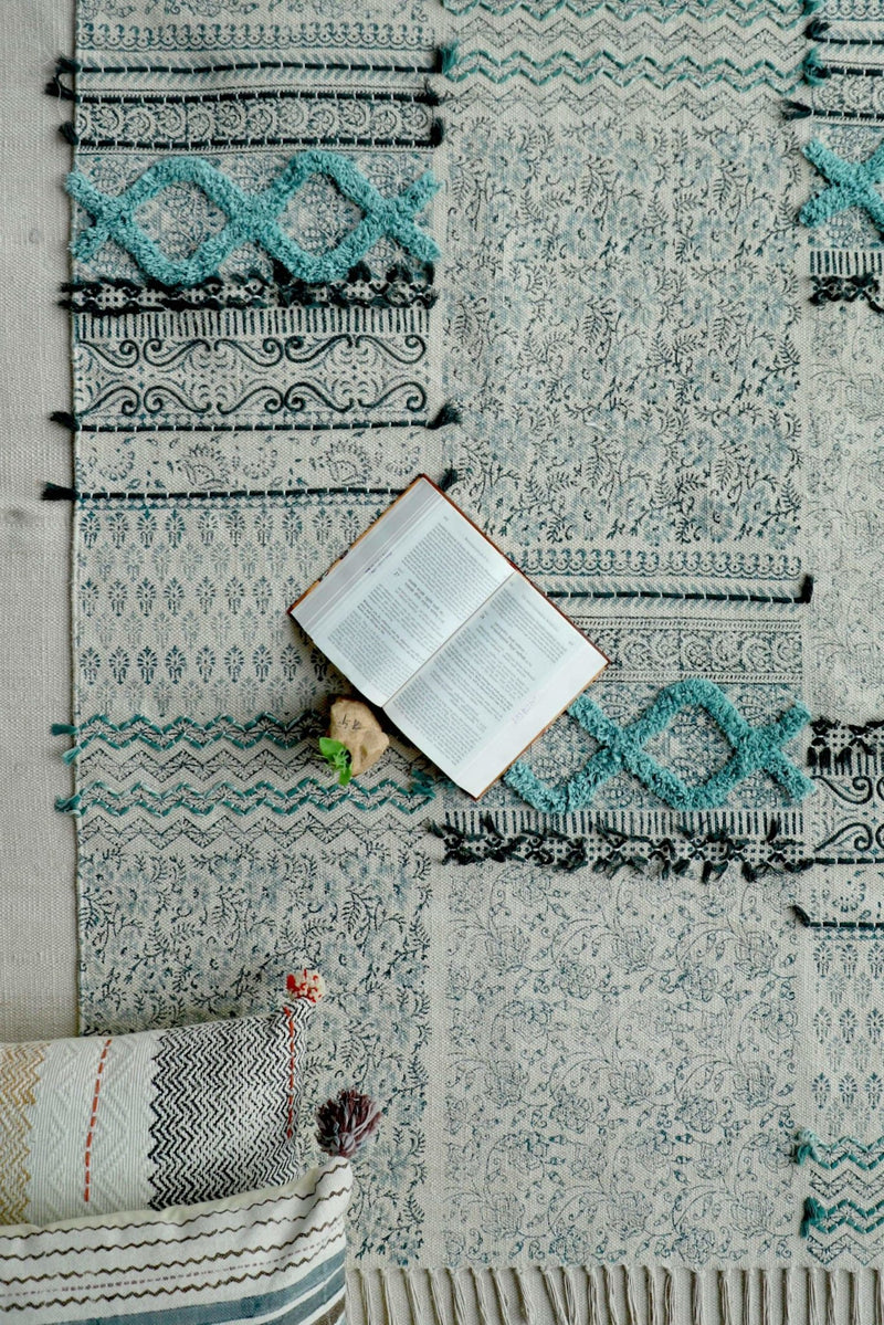 FALNA- BLOCK PRINTED RUG - BLUE - ART AVENUE