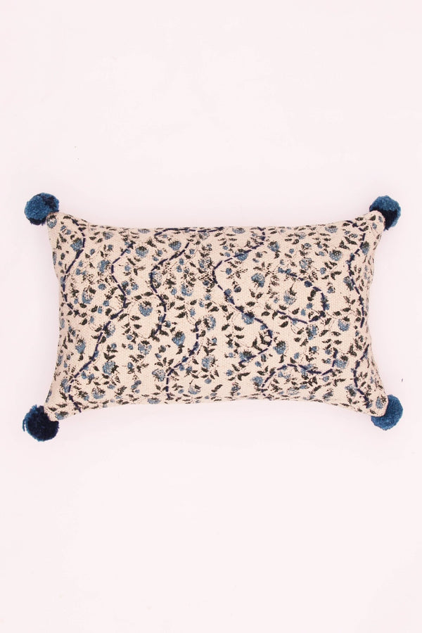 FLORA - LUMBAR CUSHION COVER - BLUE - ART AVENUE
