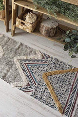 GATEWAY- BLOCK PRINTED FLOOR RUNNER - BLUE - ART AVENUE