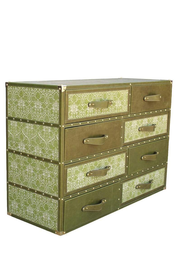 GREENFIELD CHEST OF DRAWERS - LEATHER AND PRINTED COTTON - ART AVENUE