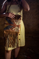 GYPSY- LEATHER AND KILIM BAG - BROWN - ART AVENUE
