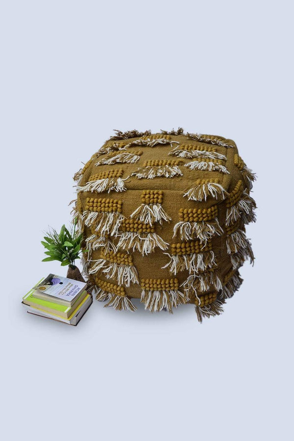 HAIR - CUBICAL POUF-MUSTARD - ART AVENUE