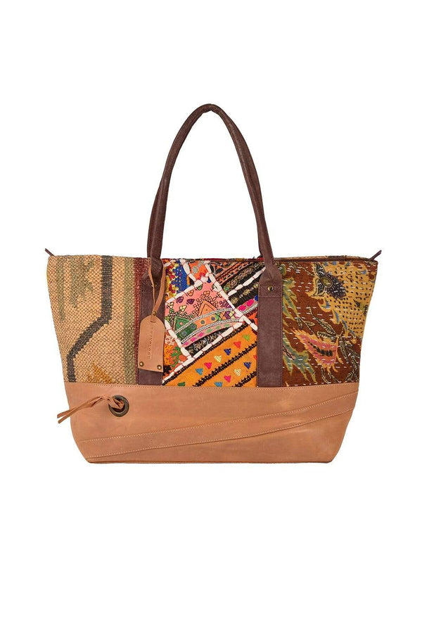 HIPSTER -KILIM & LEATHER PATCHWORK BAG - ART AVENUE