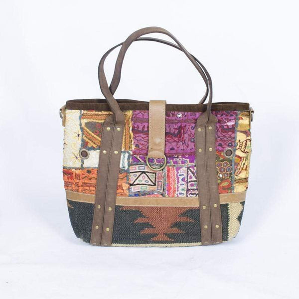 HUSH - LEATHER HANDLE PATCHWORK BAG - ART AVENUE