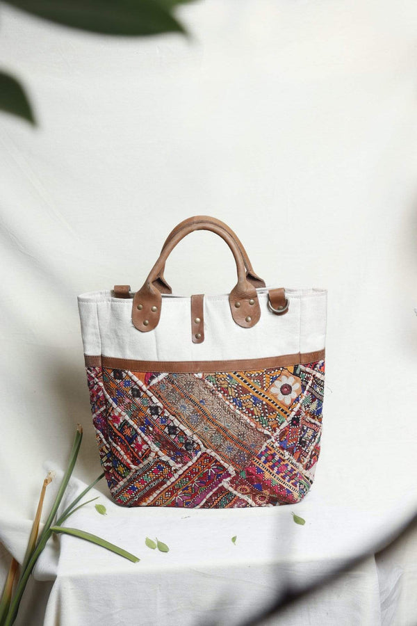 IDEATION - VINTAGE FABRIC PATCHWORK HAND BAG - ART AVENUE
