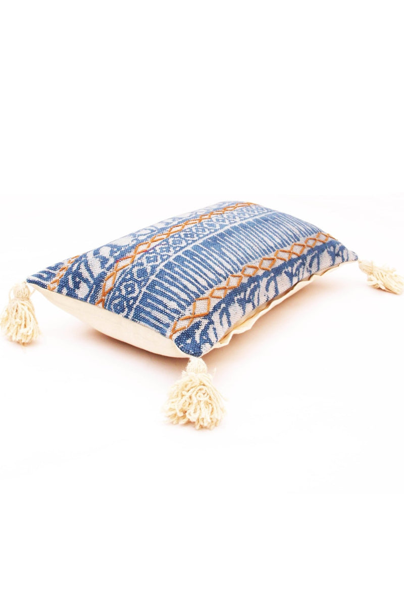 INDIGO - LUMBAR CUSHION COVER - BLUE - ART AVENUE