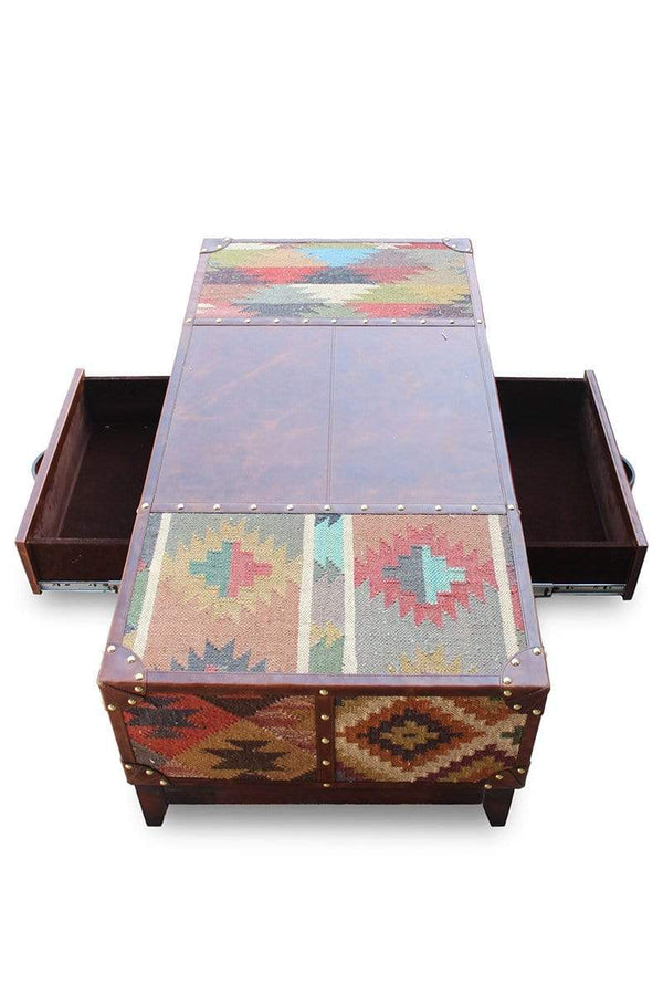 JAIPUR COFFEE TABLE - KILIM AND LEATHER - ART AVENUE