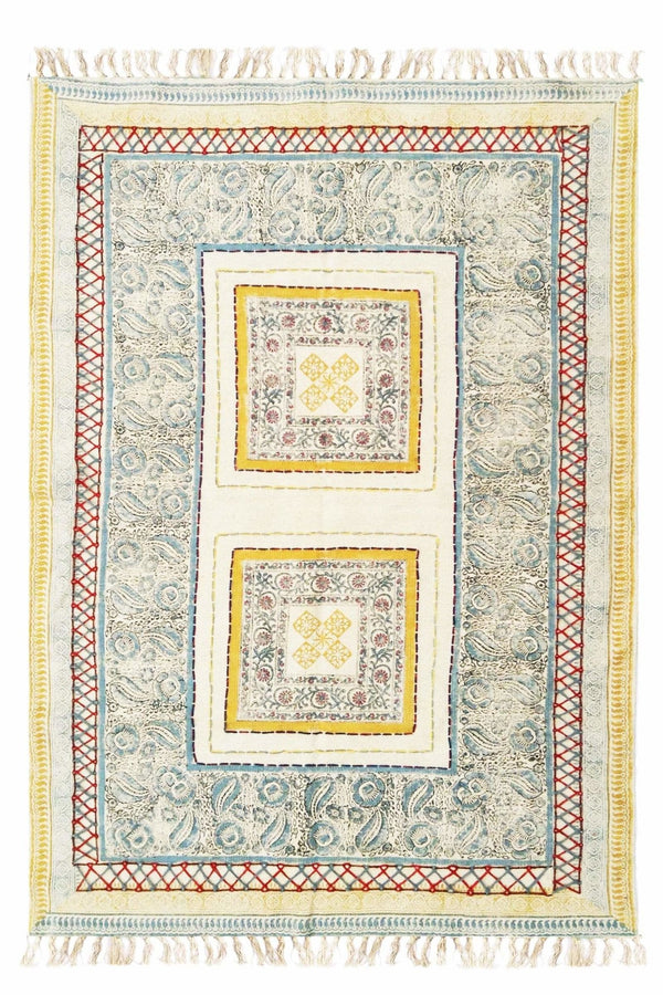 JOLLY - BLOCK PRINTED RUG - YELLOW - ART AVENUE