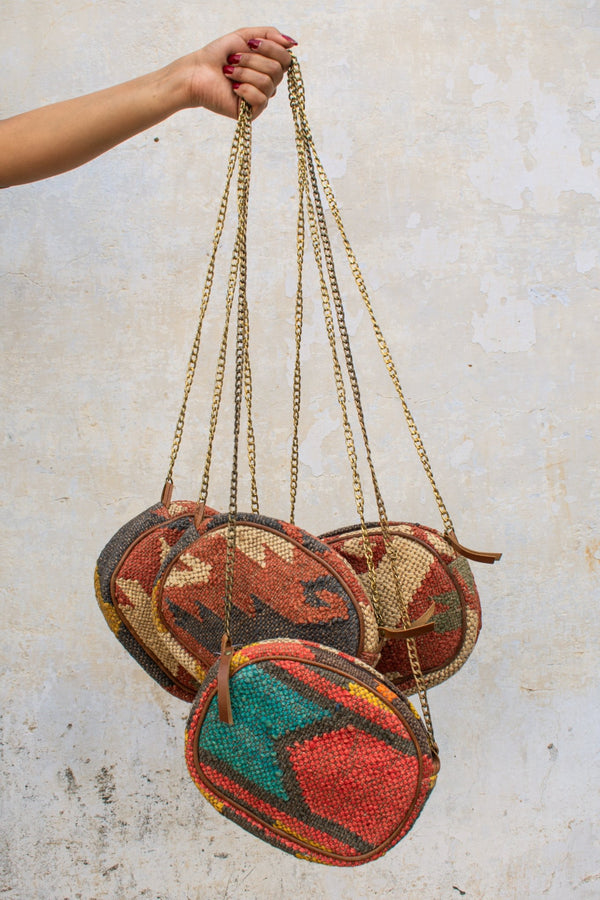 JOLLY - KILIM and LEATHER SLING BAG - ART AVENUE