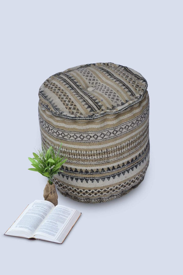 JOY - CYLINDRICAL POUF-BEIGE - ART AVENUE
