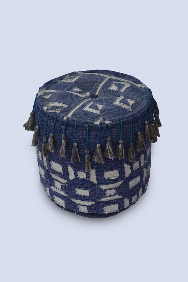 JOYFUL - CYLINDRICAL POUF-INDIGO - ART AVENUE