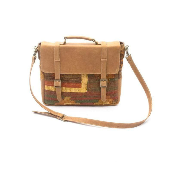 KANJI- KILIM & LEATHER LAPTOP BAG - ART AVENUE