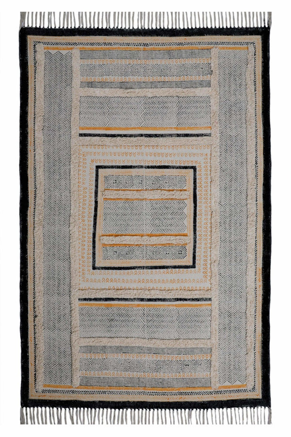 KANOR- BLOCK PRINTED RUG - BLACK - ART AVENUE