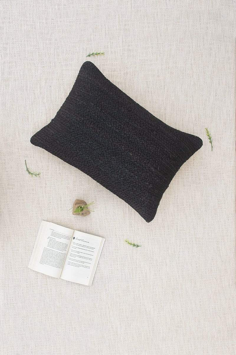 KASHIWA - LUMBAR CUSHION COVER -BLACK JUTE - ART AVENUE