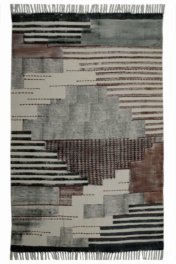 KHERWA- BLOCK PRINTED RUG - GREY - ART AVENUE