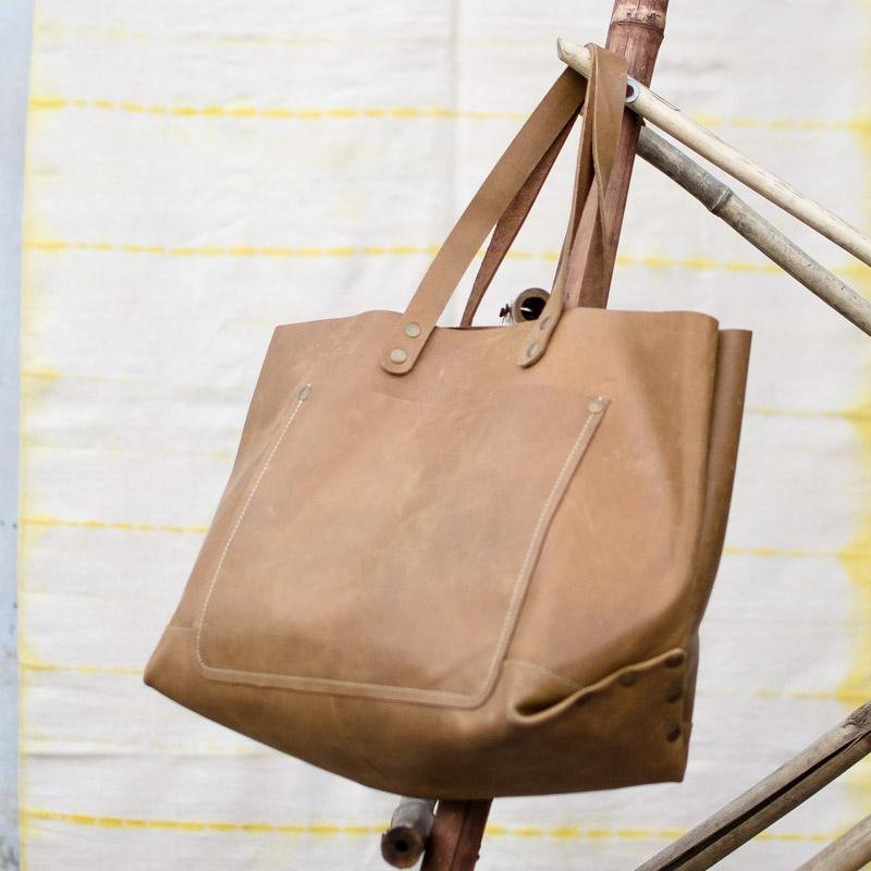 KOAN- LEATHER HAND BAG - TANN - ART AVENUE