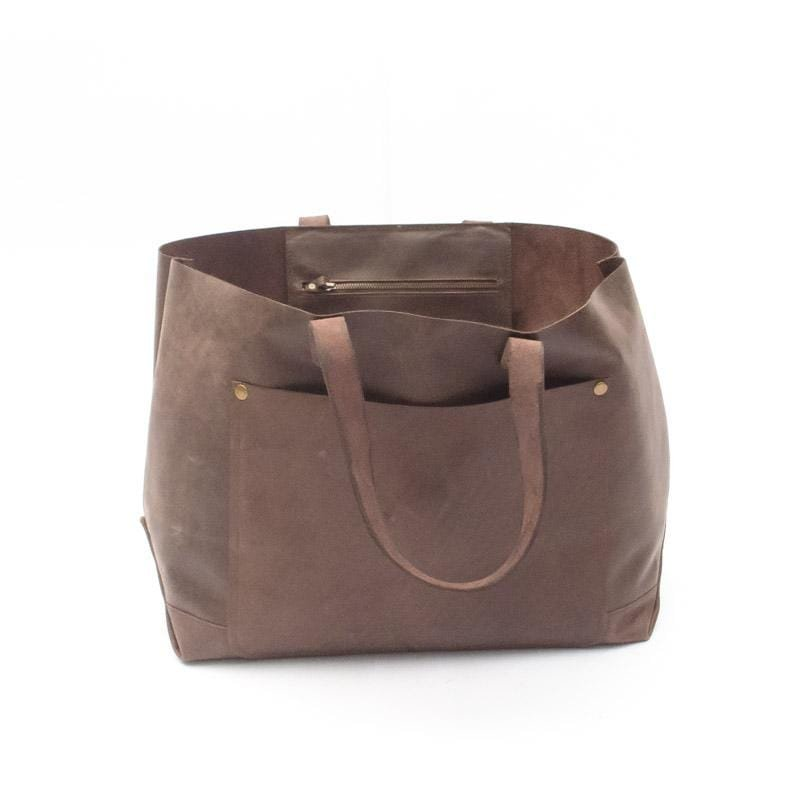 KYRIE- LEATHER HAND BAG - DARK BROWN - ART AVENUE