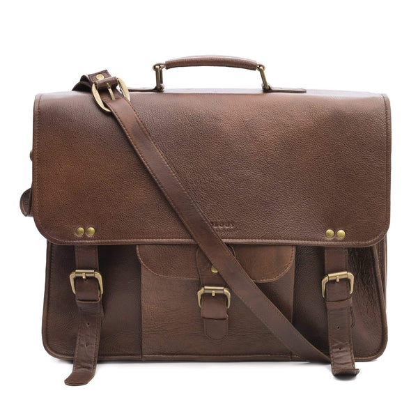 LAEVO - LEATHER LAPTOP BAG - DARK BROWN - ART AVENUE