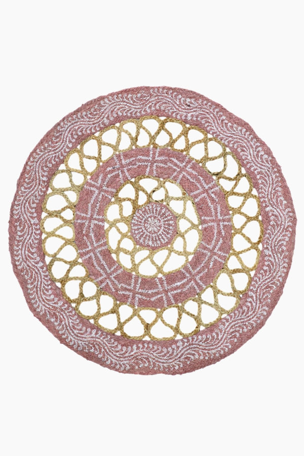 LONG -ROUND RUG -PINK - ART AVENUE