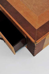 MALABAR LEATHER COFFEE TABLE WITH TWO DRAWERS - ART AVENUE