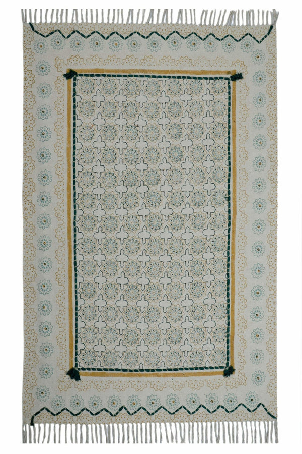 MALPURA - BLOCK PRINTED RUG - GREEN - ART AVENUE