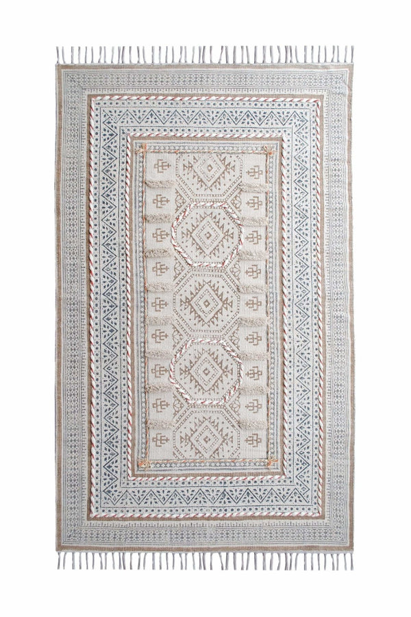 MIDLAND - BLOCK PRINTED RUG - OFF WHITE - ART AVENUE