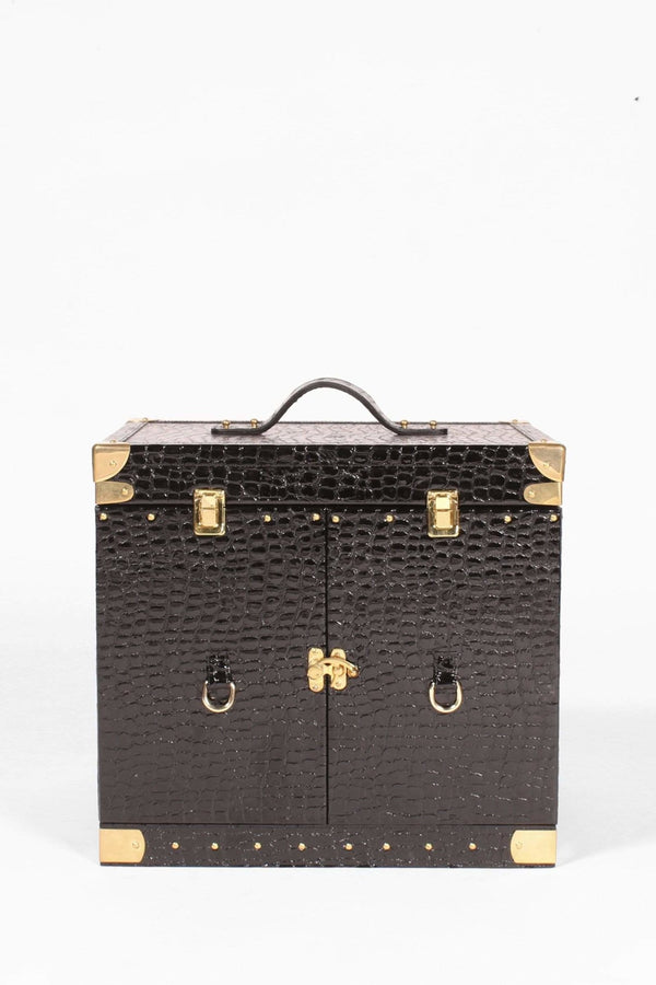 MILANO PORTABLE LEATHER BAR CABINET - Patent Black croco - ART AVENUE