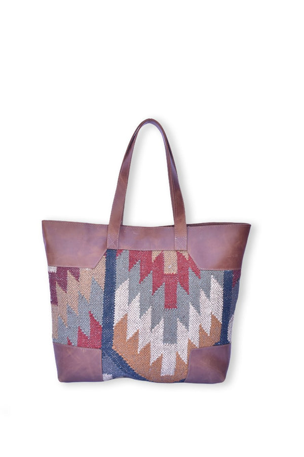 NAHUA - LEATHER AND KILIM BAG - BROWN - ART AVENUE