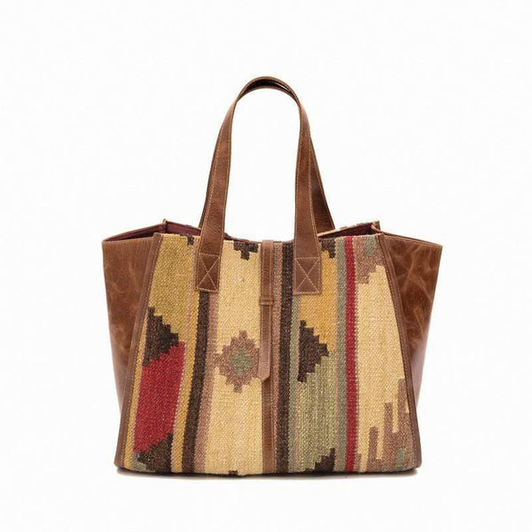 NATALIE- KILIM & LEATHER HAND BAG - ART AVENUE