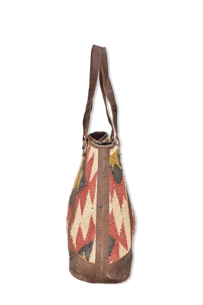 NYMPH - LEATHER AND KILIM BAG - BROWN - ART AVENUE