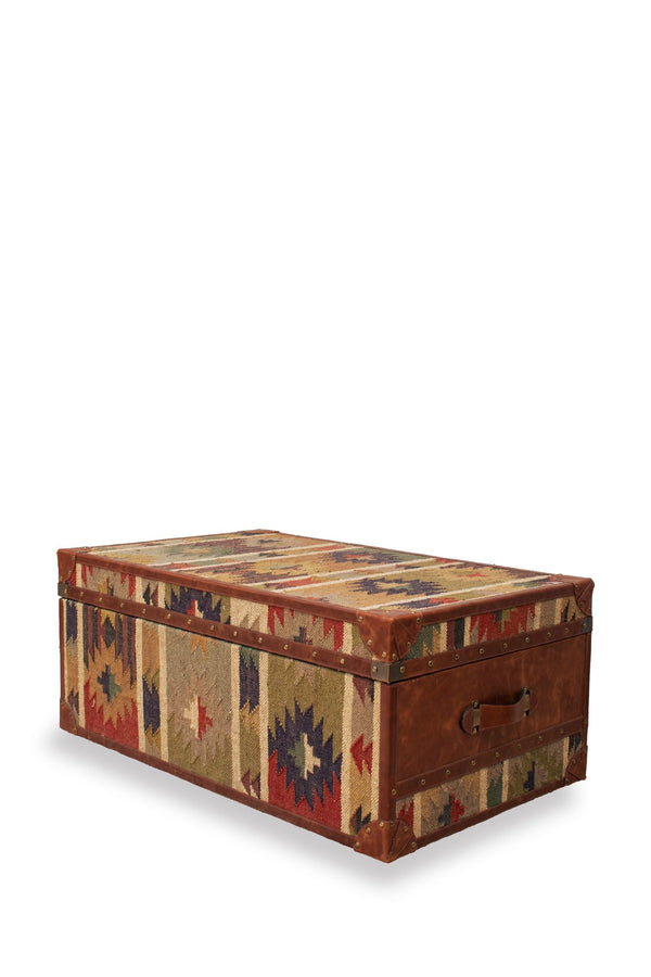 OPHILIA - KILIM TRUNK/TABLE WITH LEATHER - ART AVENUE