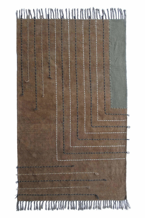 ORLANDO - OVERDYED HAND EMBROIDERED RUG - BROWN - ART AVENUE