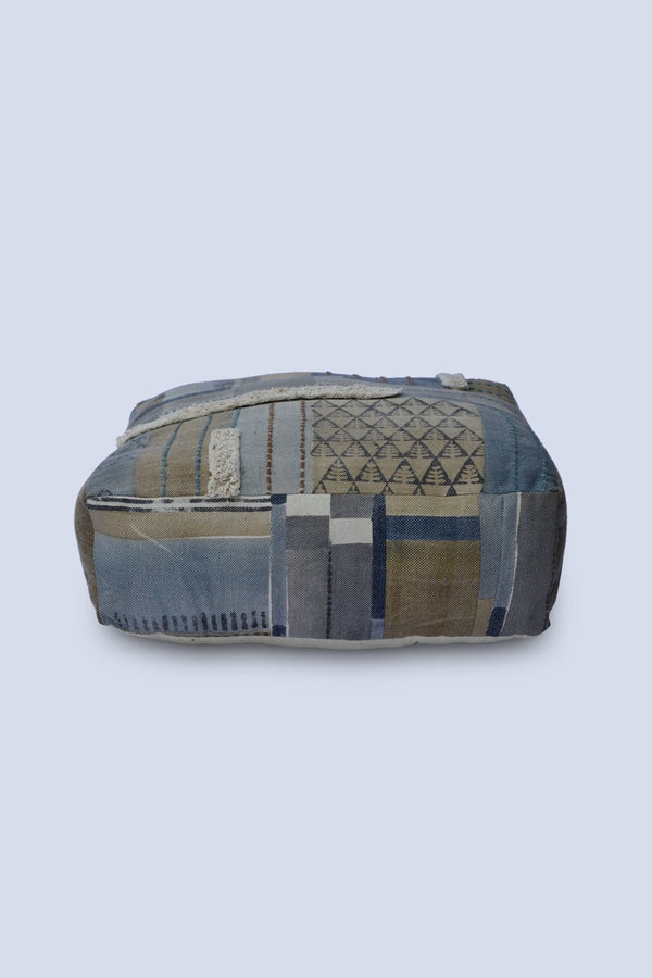 PAST - CUBICAL POUF-BLUE & BROWN - ART AVENUE