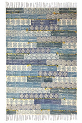PERU -BLOCK PRINTED RUG - BLUE - ART AVENUE