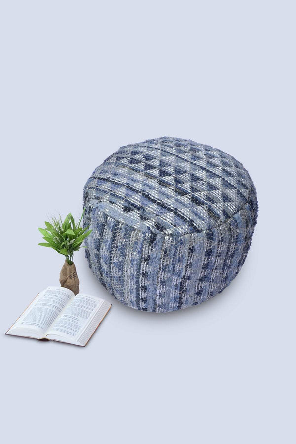 PUFF - CYLINDRICAL POUF-DENIM BLUE - ART AVENUE