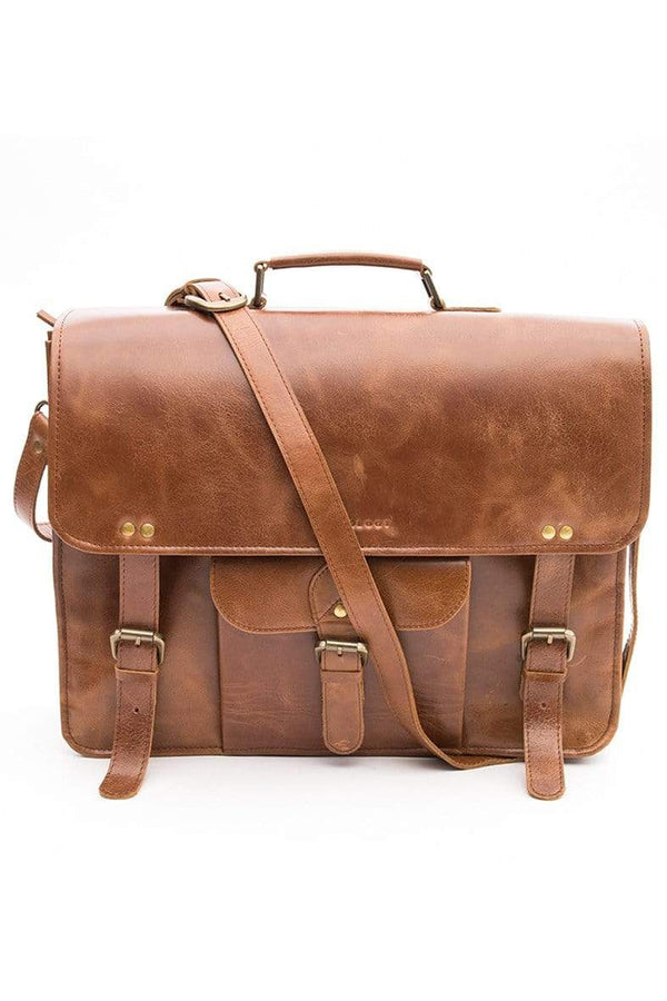 REBELUTION - LEATHER LAPTOP BAG - BROWN - ART AVENUE