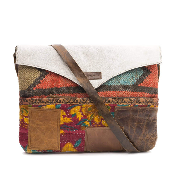 RHYTHM- KILIM & LEATHER PATCHWORK SLING BAG - ART AVENUE