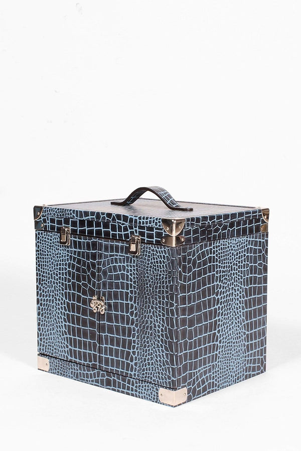 ROMA PORTABLE LEATHER BAR CABINET - BLUE - ART AVENUE