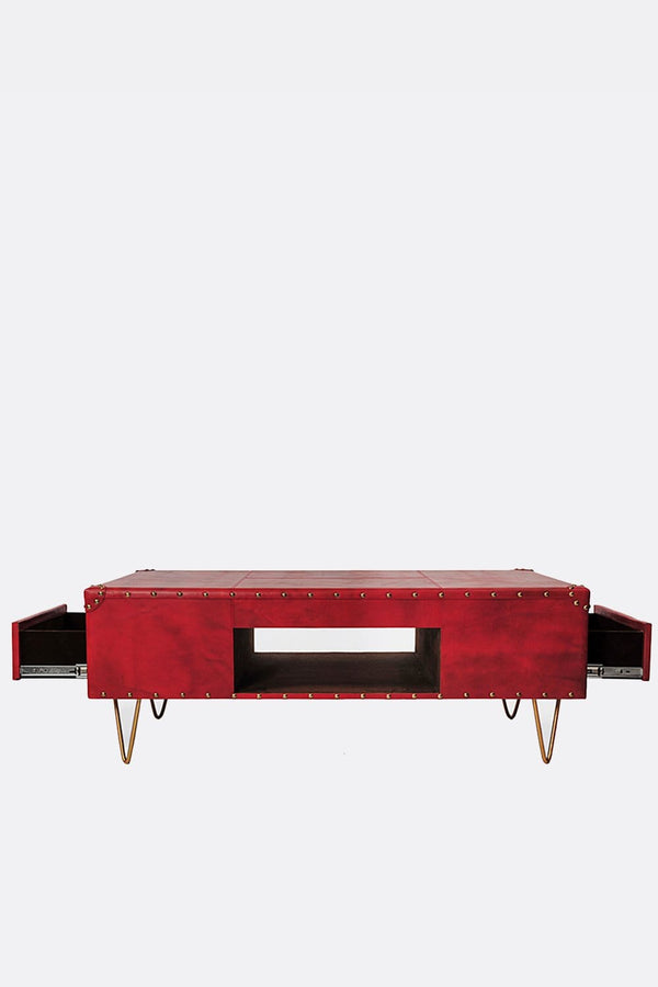 ROSE COFFEE TABLE IN LEATHER WITH METAL LEGS - ART AVENUE