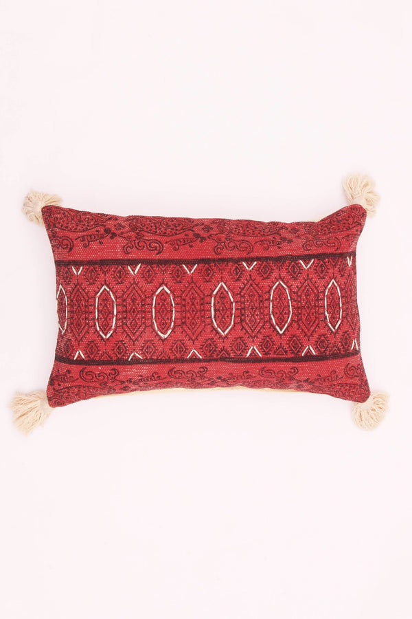 ROSEATE - LUMBAR CUSHION COVER -RED - ART AVENUE