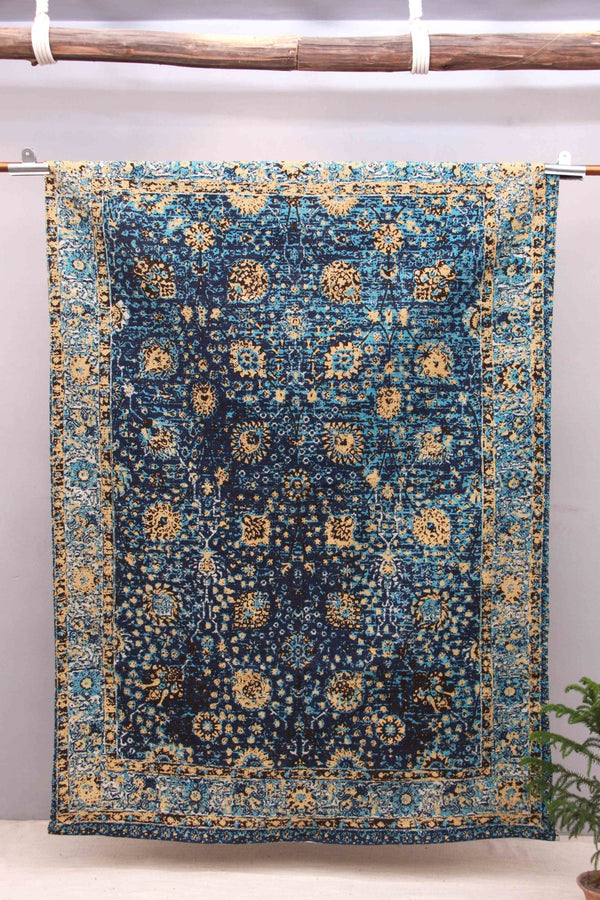 SABOTAGE - PRINTED COTTON RUG - INDIGO - ART AVENUE