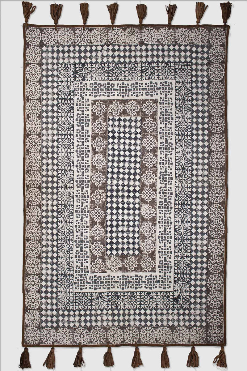 SAFFRON - BLOCK PRINTED RUG - BROWN - ART AVENUE