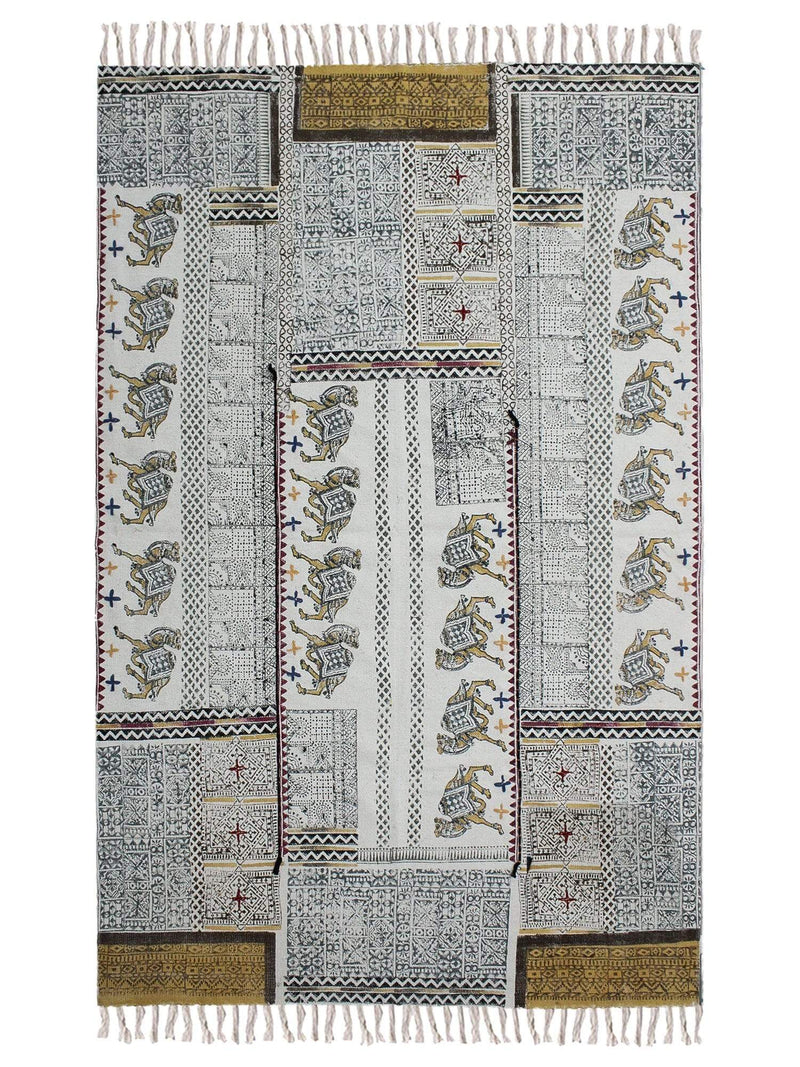 SAIL - BLOCK PRINTED RUG - YELLOW - ART AVENUE